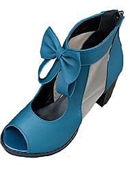 preiswerte -Damen Schuhe PU Frühling / Sommer Komfort Sandalen Blockabsatz / Block Ferse Peep Toe Schleife für Schwarz / Blau