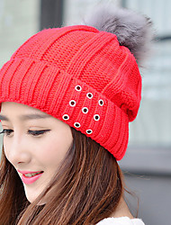 Women Stretch A Letter Printing Plus Cashmere Pure Color Wool Knit Outdoor Winter Hat