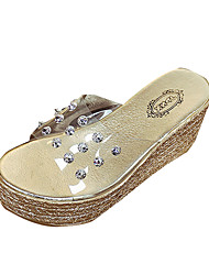 Women's Sandals Comfort PU Spring Summer Casual Dress Comfort Rivet Wedge Heel Gold Sliver 3in-3 3/4in