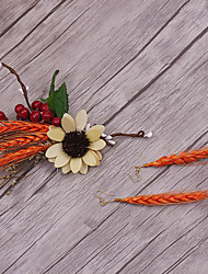 Alloy Flax Fabric Headpiece-Wedding Special Occasion Casual Outdoor Flowers 3 Pieces