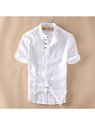 cheap -Men's Daily Casual Summer Shirt,Solid Stand Short Sleeves Linen Medium