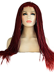 cheap -Synthetic Lace Front Wig African Braids Braided Wig Red Women's Lace Front Natural Wigs Long Synthetic Hair