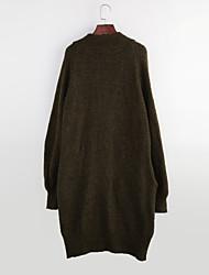 baratos -Mulheres Para Noite Moda de Rua Manga Longa Lã Longo Carregam - Sólido Lã