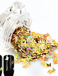 cheap -1Bottle Hot Fashion Sweet Style Glitter Laser Gold Butterfly Paillette Nail Bling Decoration Beautiful Butterfly Design Nail DIY Sparkling Slice HD01