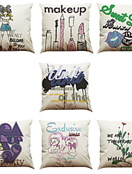 cheap -Set of 7 Creative Printing Pattern Linen  Cushion Cover Home Office Sofa Square  Pillow Case Decorative Cushion Covers Pillowcases As a Gift