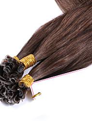 baratos -Queratina / Ponta U Extensões de cabelo humano Liso Extensões de Cabelo Natural Cabelo Humano Mulheres - Marrom Médio