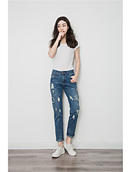 YOKE Sign 2017 new spring plum ripe series patch jeans female foreign flavor