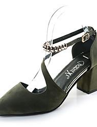 Women's Heels Spring Summer Comfort Light Soles Suede Outdoor Dress Party & Evening Chunky Heel Block Heel Buckle Black Gray Green Walking