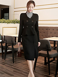 2017 new Korean Slim occupation OL temperament double-breasted V-neck ladies flounced dress package hip
