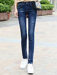 Sign new spring hole jeans female fashion embroidered stretch pencil pants Slim was thin Students