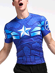 cheap -Men's Formal Going out Casual Active Summer T-shirt,Geometric Round Neck Short Sleeves Cotton Medium