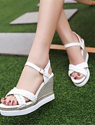 preiswerte -Damen Schuhe PU Sommer Mary Jane Sandalen Keilabsatz für Weiß / Rosa