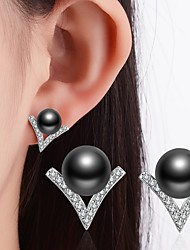Women's Stud Earrings Imitation Pearl Rhinestone Classic Imitation Pearl Black Pearl Alloy Jewelry For Wedding Party Special Occasion