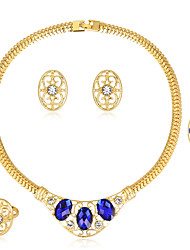 cheap -Women's Jewelry Set Classic Fashion Wedding Party Special Occasion Birthday Gift Rhinestone Gold Plated Glass Alloy Others 1 Necklace 1