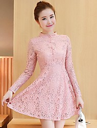 Sign 2017 spring new Korean yards Slim thin lace stitching bottoming dress