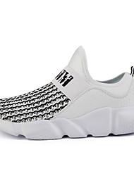 Da uomo-Sneakers-Tempo libero Casual Sportivo-Comoda-Piatto-Tulle Microfibra-Bianco Nero