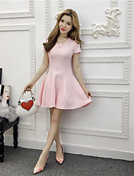 Real shot spring Korean version of the new women's fashion Slim thin short-sleeved round neck knit dress sexy