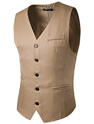 Party Evening Engagement Cotton Blend Slim Fit Suit Vest with Pocket