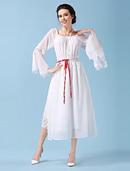 Vintage arte drawstring strapless vestido de manga de lótus swing grande sen fendas turísticas femininas na saia han chinese clothing