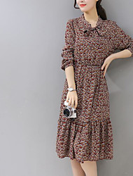firmare vestito coreano nuovo fiocco in vita floreale e lunghi tratti toccare il fondo gonna letteraria