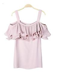 Sozinho produto 2016 verão novo plissado strapless flounced camisa chiffon sling verão mulheres chiffon blusa camisa