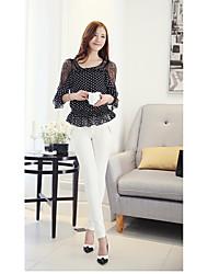 i nuovi manica della maglia signore coreane merlettano la camicia di chiffon piccola camicia personalizzata