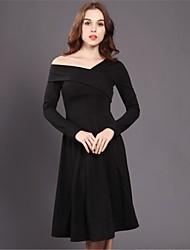 Hepburn sezioni abito nero e lungo 2016 donne inverno tubino nero senza spalline sottile v-collo era maglia sottile