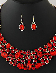 cheap -Women's Synthetic Diamond Jewelry Set - Rhinestone Sexy, Fashion Include Necklace / Earrings Light Yellow / Red / Blue For Wedding Party Daily