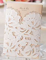 cheap -Wrap & Pocket Wedding Invitations 50-Invitation Cards Classic Style Pearl Paper