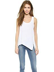 Ebay ALIEXPRESS горячая нерегулярные рубчик вокруг шеи футболку женского широкий плечевой ремень без рукавов сексуальный жилет