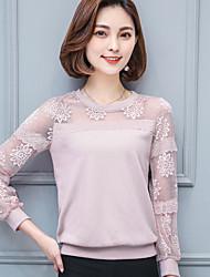 Maillot de dentelle féminin printemps nouveau col rond chemise à manches longues chemise en mousseline de soie chemise de fond sauvage