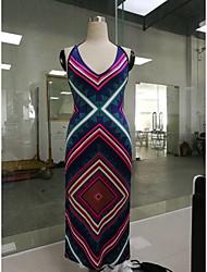 Europe et en Amérique paquet impression à fente latérale robe taille creux hanche longue section de jupe de bandage