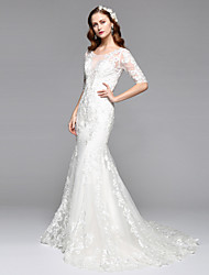 cheap -Mermaid / Trumpet Plunging Neckline Chapel Train Lace Tulle Wedding Dress with Lace by LAN TING BRIDE®