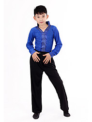 cheap -Latin Dance Outfits Performance Polyester Polka Dot Ruffles Long Sleeves High Top Pants