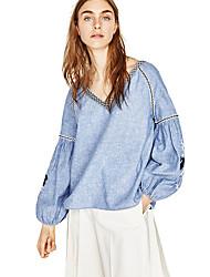 Европейская и американская торговля слоеного рукава хлопок блуза вышитой этническая декоративный край куртка женская весна новое место