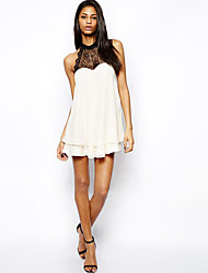Europe and back bow lace chiffon dress hit the color stitching double