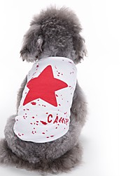 cheap -Cat Dog Vest Dog Clothes Stars Red Blue Black Cotton Costume For Pets Men's Women's Cute Casual/Daily Fashion