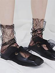 Недорогие -женская мода чистая жемчужина плиссированные тонкие короткие носки, акриловые, твердые