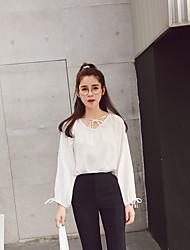 Original Sign Stock Korean loose lantern sleeve V-neck long-sleeved shirt was thin female models Spring 17