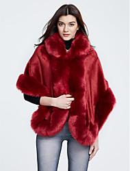 Cappotto di pelliccia Da donna Casual Inverno Moda città,Tinta unita A cappuccio Poliestere Rosso / Bianco / Nero / Grigio Maniche a ¾