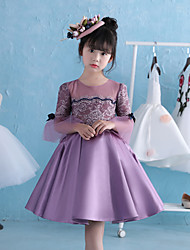 A-Line Knee Length Flower Girl Dress - Lace Satin Satin Chiffon 3/4 Length Sleeves Jewel Neck with Pearl