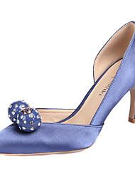 Da donna-Tacchi-Matrimonio Ufficio e lavoro Formale Serata e festa-Club Shoes-A stiletto-Seta-Bianco Nero Rosso Rosa Chiaro Royal Blue