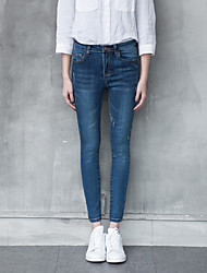 Sign waist spring Korean Shopping pantyhose jeans female was thin pants feet pencil pants trousers