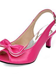 Feminino-Sandálias-Chanel-Salto Agulha-Preto Amarelo Vermelho Azul Rosa claro-Couro Ecológico-Escritório & Trabalho Social Festas & Noite