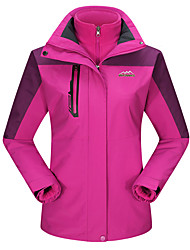 Women's 3-in-1 Jackets Waterproof Thermal / Warm Windproof Dust Proof Breathable Double Sliders 3-in-1 Jacket Top for Skiing Camping /