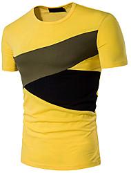 abordables -Tee-shirt Homme, Couleur Pleine - Coton Sports Actif Col Arrondi