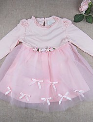 Baby Going out Daily Solid DressCotton Polyester Spring Fall Pink Tulle Dress