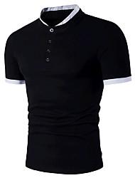 Недорогие -Для мужчин На выход Нарядная Лето Polo Рубашечный воротник,Простое Активный Контрастных цветов С короткими рукавами,Хлопок,Средняя