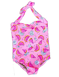 cheap -Girls' Floral Print Swimwear, Polyester Spandex Fuchsia