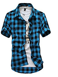 cheap -Men's Daily Going out Beach Casual Summer Shirt,Plaid Classic Collar Short Sleeves Cotton Polyester